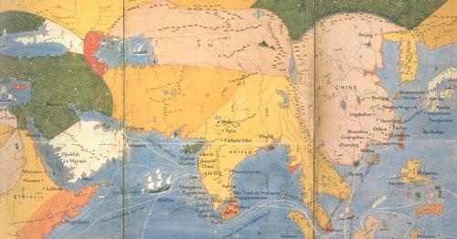 Mappemonde et quarante Nationalités (extrait) Japon XVII°, Idemistu, Muséum of Arts, Tokyo